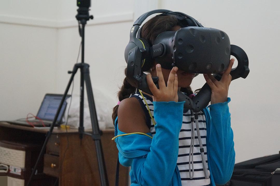 Girl enjoying Virtual Reality